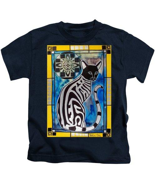 Silver Tabby With Mandala - Cat Art By Dora Hathazi Mendes Kids T-Shirt