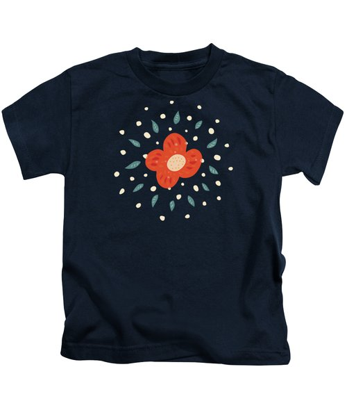 Simple Pretty Orange Flowers Pattern Kids T-Shirt