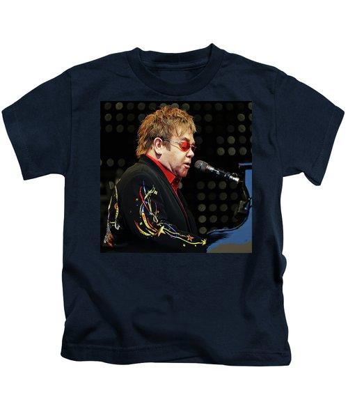Sir Elton John At The Piano Kids T-Shirt by Elaine Plesser