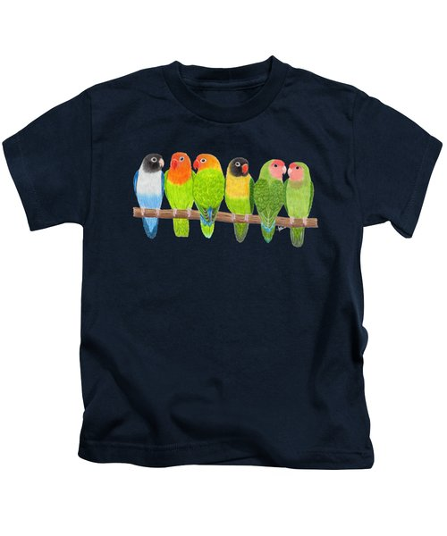 Six Lovebirds Kids T-Shirt by Rita Palmer