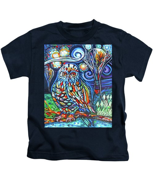 Snowy Owl Abstract With Moon Kids T-Shirt