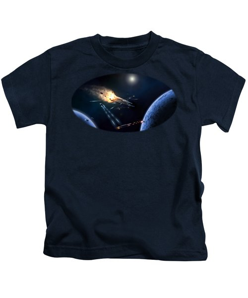 Space Battle I Kids T-Shirt by Carlos M R Alves