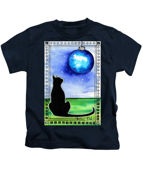 Sparkling Blue Bauble - Christmas Cat Kids T-Shirt