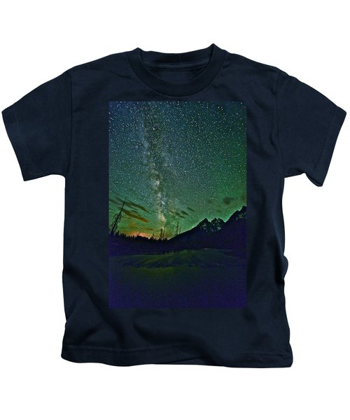 Starry Night Over The Tetons Kids T-Shirt