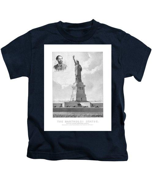 Statue Of Liberty And Bartholdi Portrait Kids T-Shirt