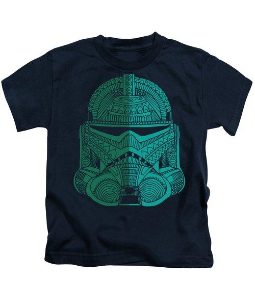Stormtrooper Helmet - Star Wars Art - Blue Green Kids T-Shirt