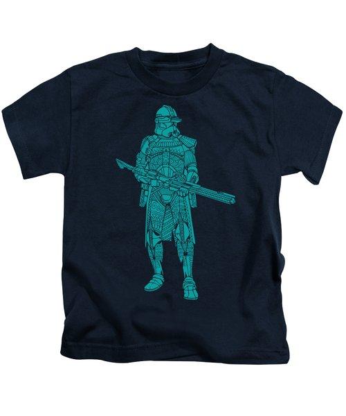 Stormtrooper Samurai - Star Wars Art - Blue 03 Kids T-Shirt