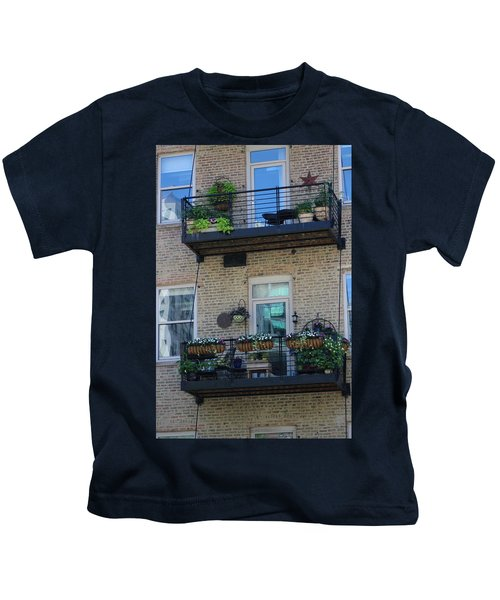 Summer Balconies In Chicago Illinois Kids T-Shirt