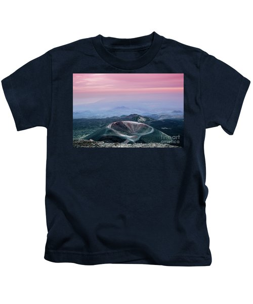 Sunset From The Top Of The Etna Kids T-Shirt