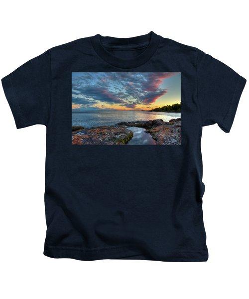 Sunset On Lake Superior Kids T-Shirt