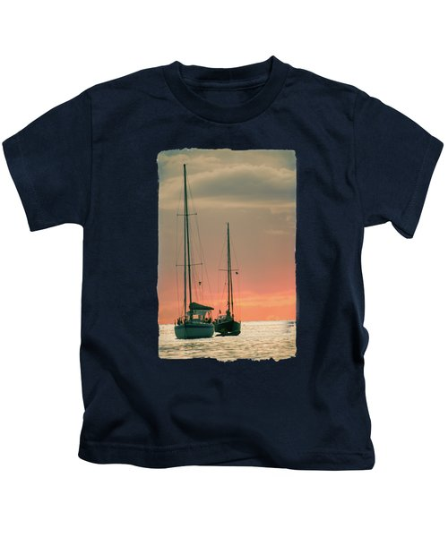 Sunset Yachts Kids T-Shirt by Konstantin Sevostyanov