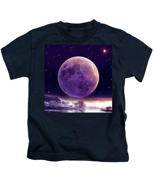 Super Cold Moon Over December Kids T-Shirt