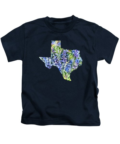 Texas Blue Texas Map On White Kids T-Shirt by Hailey E Herrera