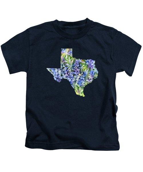Texas Blue Texas Map On White Kids T-Shirt by Hailey E Herrera