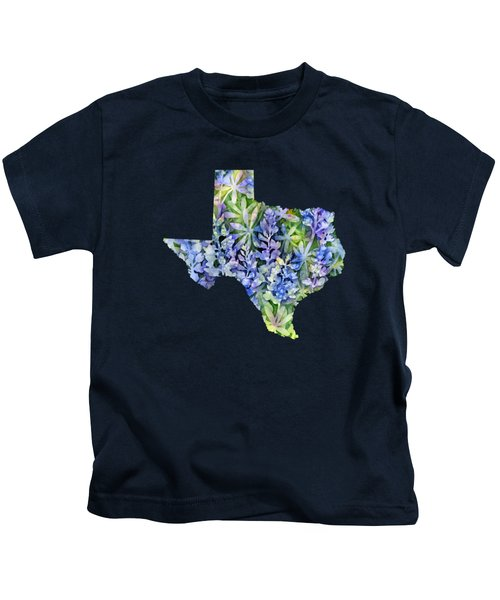 Texas Blue Texas Map On White Kids T-Shirt