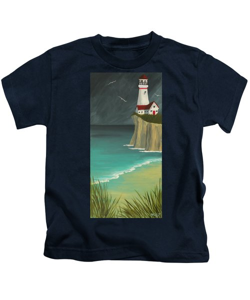 The Lighthouse On The Cliff Kids T-Shirt