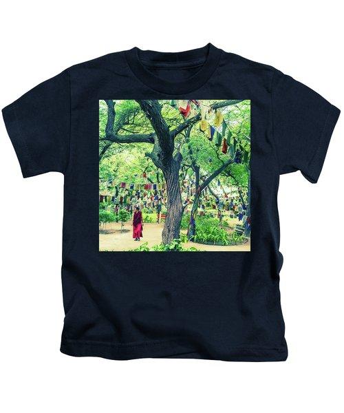 The Monk Among The Prayer Flags Kids T-Shirt