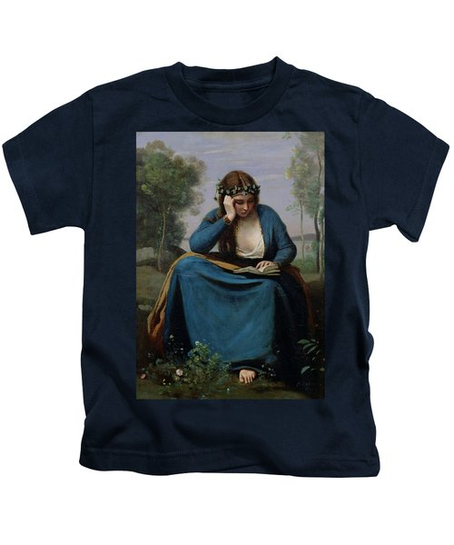 The Reader Crowned With Flowers Kids T-Shirt by Jean Baptiste Camille Corot