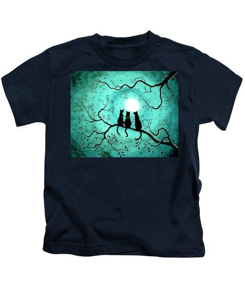 Three Black Cats Under A Full Moon Kids T-Shirt