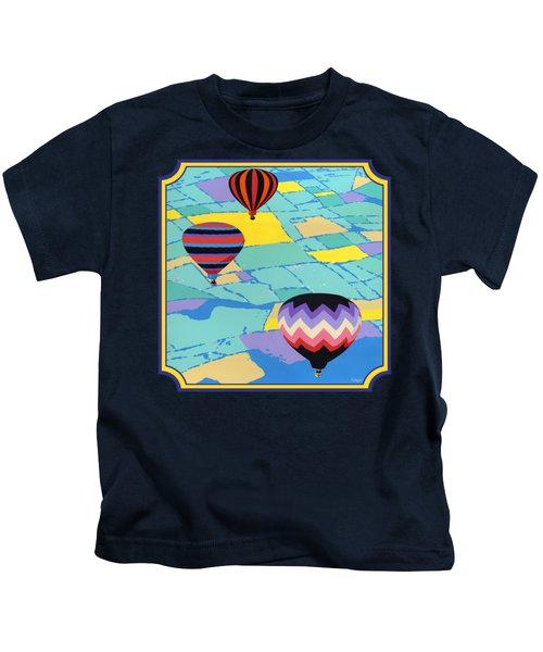 Three Hot Air Balloons Arial Absract Landscape - Square Format Kids T-Shirt