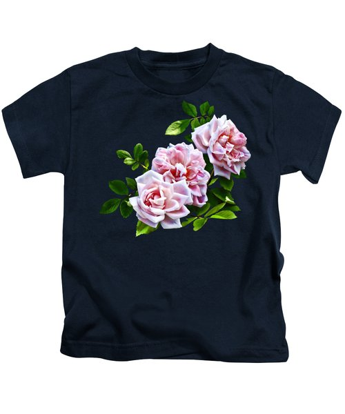 Three Pink Roses With Leaves Kids T-Shirt