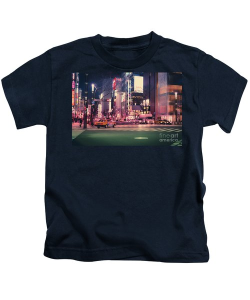 Tokyo Street At Night, Japan 2 Kids T-Shirt
