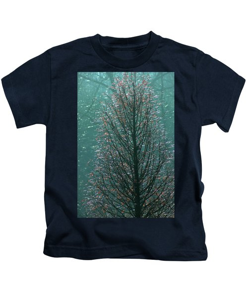 Tree In Autumn, With Red Leaves, Blue Background, Sunny Day Kids T-Shirt