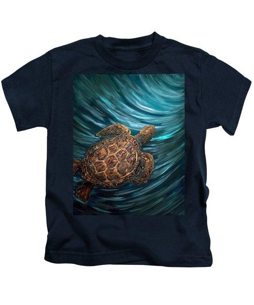 Turtle Wave Deep Blue Kids T-Shirt