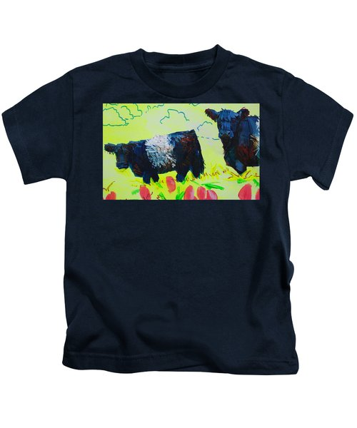 Two Belted Galloway Cows Looking At You Kids T-Shirt
