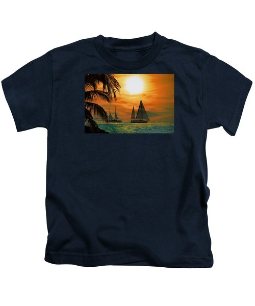 Two Ships Passing In The Night Kids T-Shirt