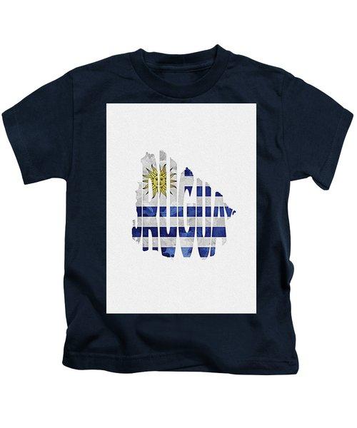 Uruguay Typographic Map Flag Kids T-Shirt