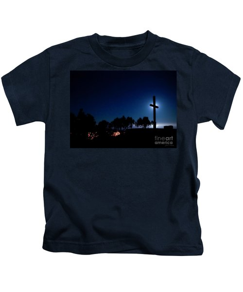 Ventura Ca Cross At Moonset Kids T-Shirt