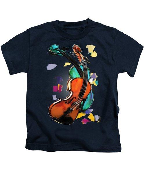 Violins Kids T-Shirt by Melanie D
