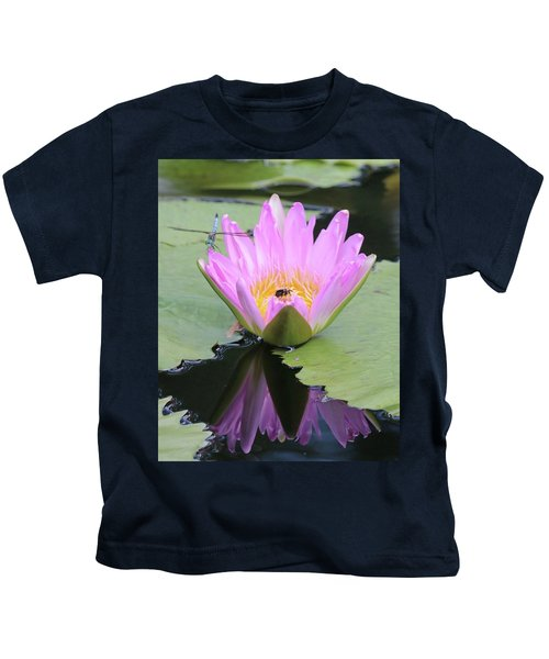 Water Lily With Dragon Fly Kids T-Shirt
