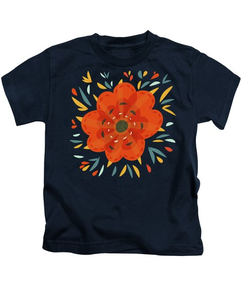 Whimsical Decorative Orange Flower Kids T-Shirt