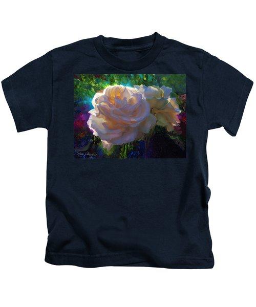 White Roses In The Garden - Backlit Flowers - Summer Rose Kids T-Shirt