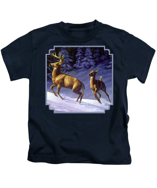 Whitetail Deer Painting - Startled Kids T-Shirt by Crista Forest