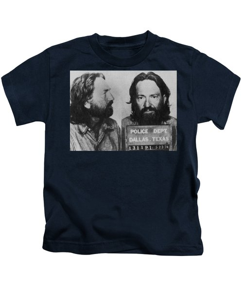 Willie Nelson Mug Shot Horizontal Black And White Kids T-Shirt