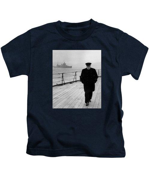 Winston Churchill At Sea Kids T-Shirt