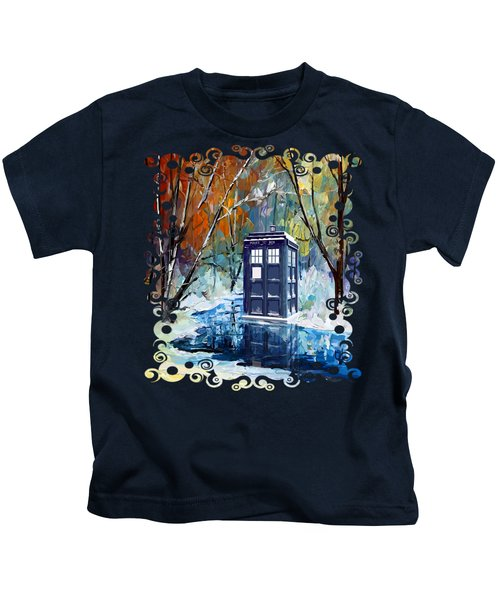 Winter Blue Phone Box Kids T-Shirt