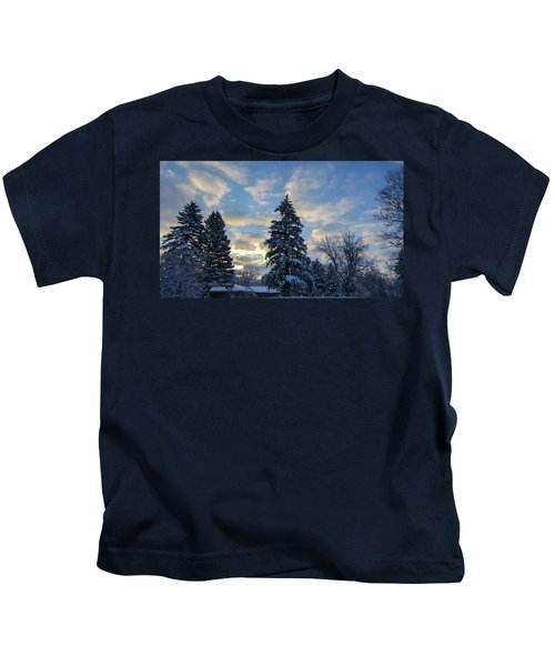 Winter Dawn Over Spruce Trees Kids T-Shirt