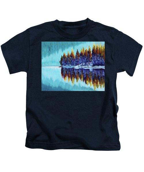 Winter - Mountain Lake Kids T-Shirt