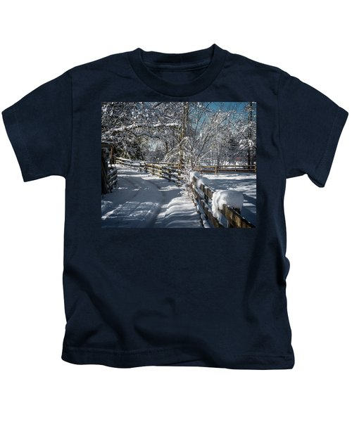 Winter On Ruskin Farm Kids T-Shirt