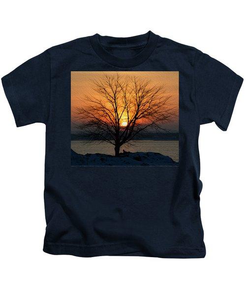 Winter Tree Sunrise Kids T-Shirt