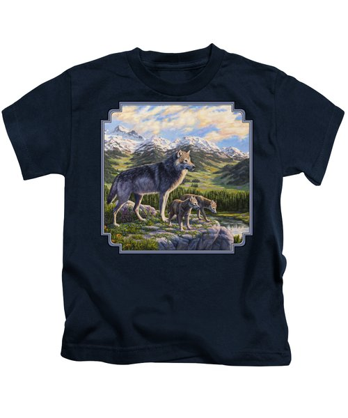 Wolf Painting - Passing It On Kids T-Shirt
