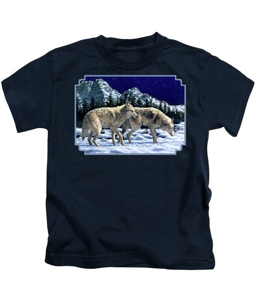 Wolves - Unfamiliar Territory Kids T-Shirt by Crista Forest
