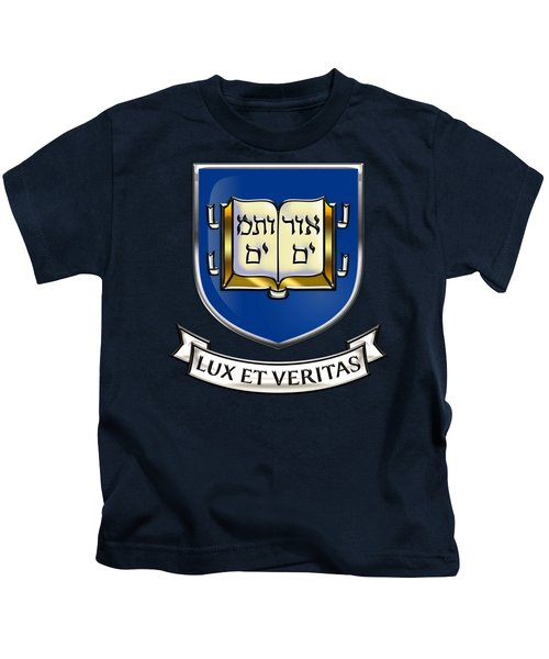Yale University Seal - Coat Of Arms Over Colours Kids T-Shirt by Serge Averbukh