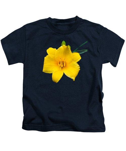 Yellow Daylily Flower Kids T-Shirt by Christina Rollo