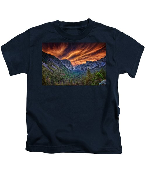 Yosemite Fire Kids T-Shirt by Rick Berk