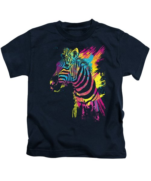 Zebra Splatters Kids T-Shirt by Olga Shvartsur